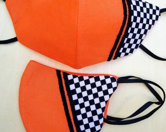 Motorsports handmade 3 layer cotton facemask, with chequered flag panel and contrast embroidered striping, opening for filter insert