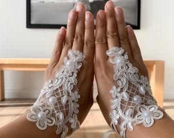H.X Little Girls Pearl Satin Formal Gloves Flower Girls Wedding Gloves