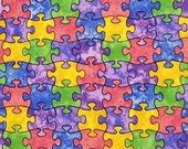 Multi Color Puzzle Pieces - 100% Cotton Fabric - Select Your Size or By The Yard