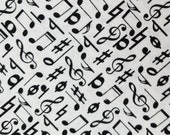Black and White Music Notes - 100% Cotton Fabric - Select Your Size or By The Yard