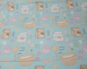 """Flannel Fabric - Little Bakers Ingredients - 22"""" REMNANT - 100% Cotton Flannel"""