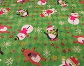 """Christmas Flannel Fabric - Snow Friends - 27"""" REMNANT - 100% Cotton Flannel"""