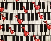 Music Piano & Hearts - 100% Cotton Fabric - Select Your Size or By The Yard