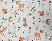 Sweet Woodland Animals on Light Green - 100% Cotton Fabric - Select Your Size or By The Yard