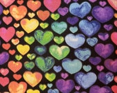 Rainbow Hearts on Black - 100% Cotton Fabric - Select Your Size or By The Yard