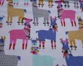 Flannel Fabric - Party Llamas - REMNANT - 100% Cotton Flannel
