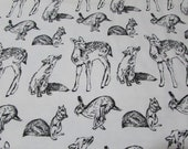 Flannel Fabric - Black and White Woodland Animals - REMNANT - 100% Cotton Flannel