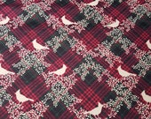 Christmas Flannel Fabric - Cardinals with Plaid - REMNANT - 100% Cotton Flannel