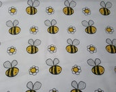 """Flannel Fabric - Happy Bee - 26"""" REMNANT - 100% Cotton"""