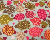 """Flannel Fabric - Turtles Hearts - 22"""" REMNANT - 100% Cotton Flannel"""