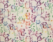 Rainbow Ombre Cats & Hearts on White - 100% Cotton Fabric - Select Your Size or By The Yard