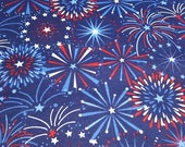 Flannel Fabric - Fireworks Display - REMNANT - 100% Cotton Flannel