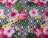 """Flannel Fabric - Tropical Flowers on Geo - 22"""" REMNANT - 100% Cotton Flannel"""