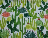 Flannel Fabric - Cactus Toss - REMNANT - 100% Cotton Flannel