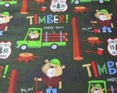 Flannel Fabric  - Lumberjack Bear - REMNANT - 100% Cotton Flannel