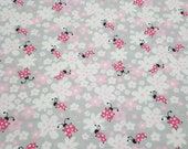 Flannel Fabric - Ladybug Floral Light Gray - REMNANT - 100% Cotton Flannel