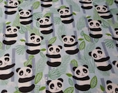 Flannel Fabric - Happy Panda - REMNANT - 100% Cotton Flannel