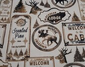 """Flannel Fabric - Black Bear Lodge Sketched - 26"""" REMNANT - 100% Cotton Flannel"""