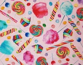 Rainbow Candy Mix on Pink Cotton Fabric By The Yard - 100% Cotton Fabric - Select Your Size or By The Yard
