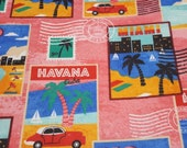 """Flannel Fabric - Traveling Postage Stamp - 24"""" REMNANT - 100% Cotton Flannel"""