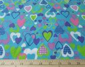 "Flannel Fabric - All My Love Aqua  - 26"" REMNANT - 100% Cotton Flannel"