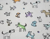 """Flannel Fabric - Sketched Shadow Pups - 27"""" REMNANT - 100% Cotton Flannel"""