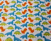 "Flannel Fabric - Dinosaur Friends - 25"" REMNANT - 100% Cotton Flannel"