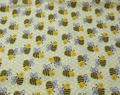 "Flannel Fabric - Honeycomb Bee - 21"" REMNANT - 100% Cotton Flannel"
