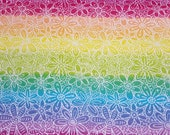 """Flannel Fabric - Flowers and Butterflies on Tie Dye - 24"""" REMNANT - 100% Cotton Flannel"""