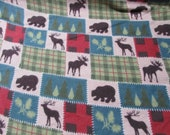 """Flannel Fabric - Deer Lodge Patch - 30"""" REMNANT - 100% Cotton Flannel"""
