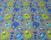 """Flannel Fabric - Nighttime Monsters - 27"""" REMNANT - 100% Cotton Flannel"""