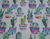 Flannel Fabric - Potted Cacti Watercolor - REMNANT - 100% Cotton Flannel
