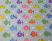 "Flannel Fabric - Bright Patterned Fishies - 42"" REMNANT - 100% Cotton Flannel"