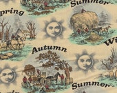 Cotton Fabric - Old Farmer's Almanac, Seasons Etchings Quilting Fabric - Select Your Size or By The Yard - 100% Cotton Fabric