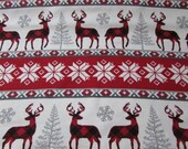 Christmas Flannel Fabric - Buffalo Check Winter Stripe - REMNANT - 100% Cotton Flannel