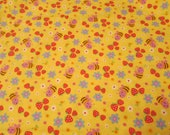 """Flannel Fabric - Bees and Strawberries on Yellow - 23"""" REMNANT - 100% Cotton Flannel"""
