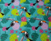 """Flannel Fabric - Toucans Allover - 30"""" REMNANT - 100% Cotton Flannel"""