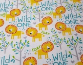 Flannel Fabric - Wild One Lions - REMNANT - 100% Cotton Flannel