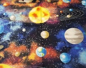 Flannel Fabric - Solar System - REMNANT - 100% Cotton Flannel