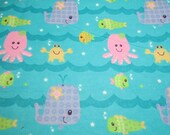 "Flannel Fabric - Sea Friends - 29"" REMNANT - 100% Cotton Flannel"