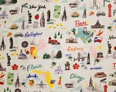 US Cities - 100% Cotton Fabric - Select Your Size or By The Yard