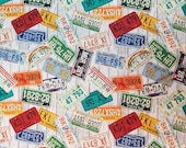 License Plates Tossed on Wood - 100% Cotton Fabric - Select Your Size or By The Yard