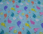 Flannel Fabric - Narwhal and Donut Party - REMNANT - 100% Cotton Flannel
