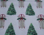 """Christmas Flannel Fabric - Sleighs and Trees - 23"""" REMNANT - 100% Cotton Flannel"""