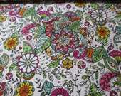 Flannel Fabric - Multi Color Sketched Floral - REMNANT - 100% Cotton Flannel