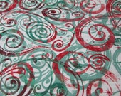 "Christmas Flannel Fabric - Red and Green Christmas Swirls - 24"" REMNANT - 100% Cotton Flannel"