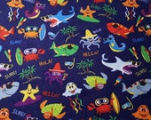 Flannel Fabric - Under the Sea Blue - REMNANT - 100% Cotton Flannel