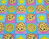 """Character Flannel Fabric - Shopkins Kooky Cookie - 23"""" REMNANT - 100% Cotton Flannel"""