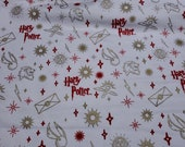 """Christmas Character Flannel Fabric - Harry Potter Ornaments Metallic - 23"""" REMNANT - 100% Cotton Flannel"""