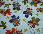 Flannel Fabric - Cowboy Owls - REMNANT - 100% Cotton Flannel